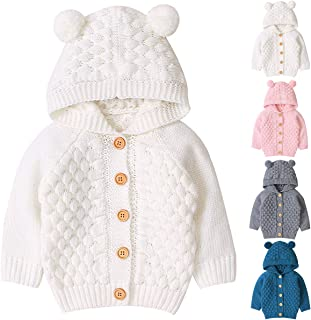 Tianhaik Baby Boy Girl Cardigan Sweater Jackets Coat Spring Knitted Sweatshirts Button-up Hooded Outerwear