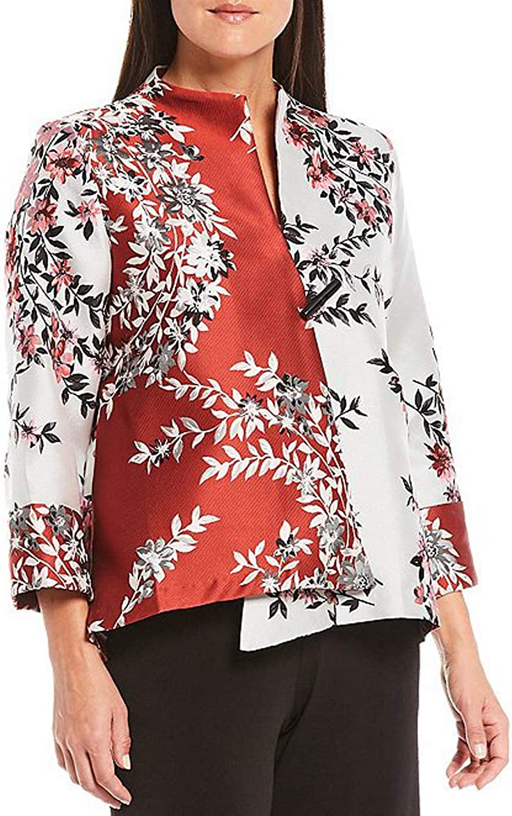 IC Collection Floral Tapestry 3/4 Sleeve Hi-Low One Button Jacket, Size-M