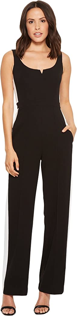 Donna Morgan - Sweetheart Neckline Crepe Jumpsuit with Side Stripe Detail