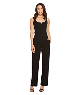 Sweetheart Neckline Crepe Jumpsuit with Side Stripe Detail