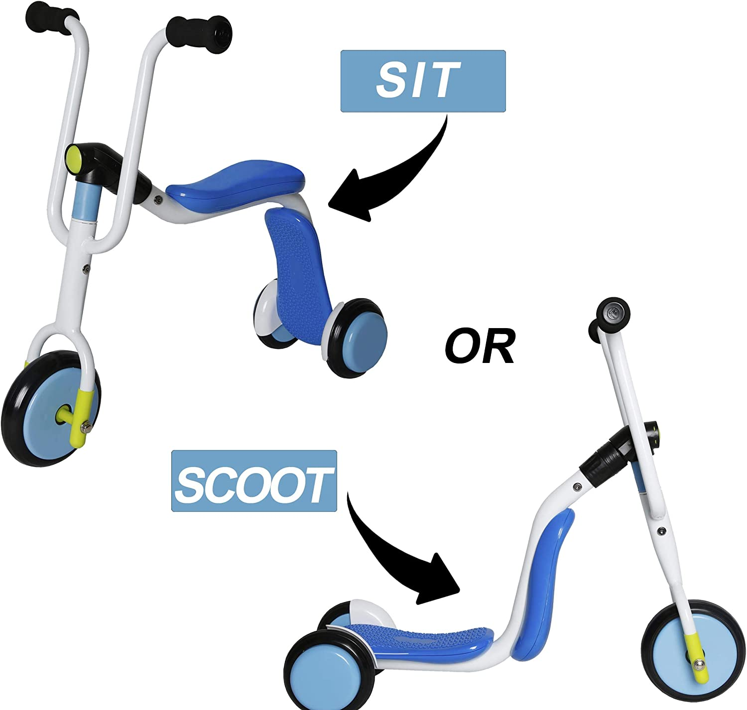 UHINOOS Kick Scooter 3 Wheel Toddler Scooter Easy Adjustable Transform Kick Scooter to Balance Trike for Kids 2 to 5 Years Old Boys and Girls (bluee)