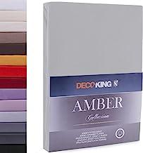 DecoKing 100x200-120x200 cm Sábana Bajera Ajustable 100% Algodón Jersey Acero Amber Collection