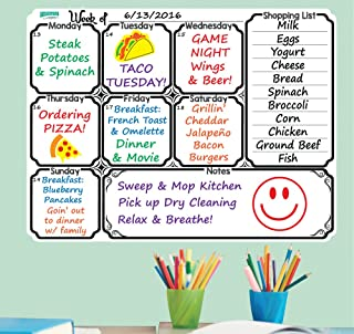 Everase Re-Stic Dry Erase Self-Adhesive Peel & Stick Meal Planner | Weekly to Do List (12 x 16 in.) Free Marker & Cloth | Menu/Diet/Fitness Shopping/Groceries List | Premium Quality Removable Decal