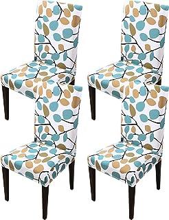 HengAi Style Sillas cubierta de la silla Para Ining 4 piezas modernas Imprimir Asiento estiramiento boda cubierta Ining heces silla Fundas para re