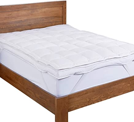 featured product puredown Premium Natural White Goose Down Feather Overfilled Bed Topper 100% Cotton Fabric Mattress Pad Queen Down