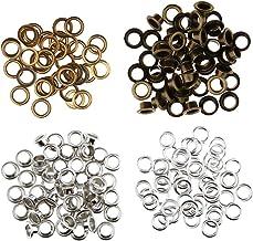 Blesiya 100 Stuks Metalen Zeilringen met Lederen Doorvoertules van Parelkoord