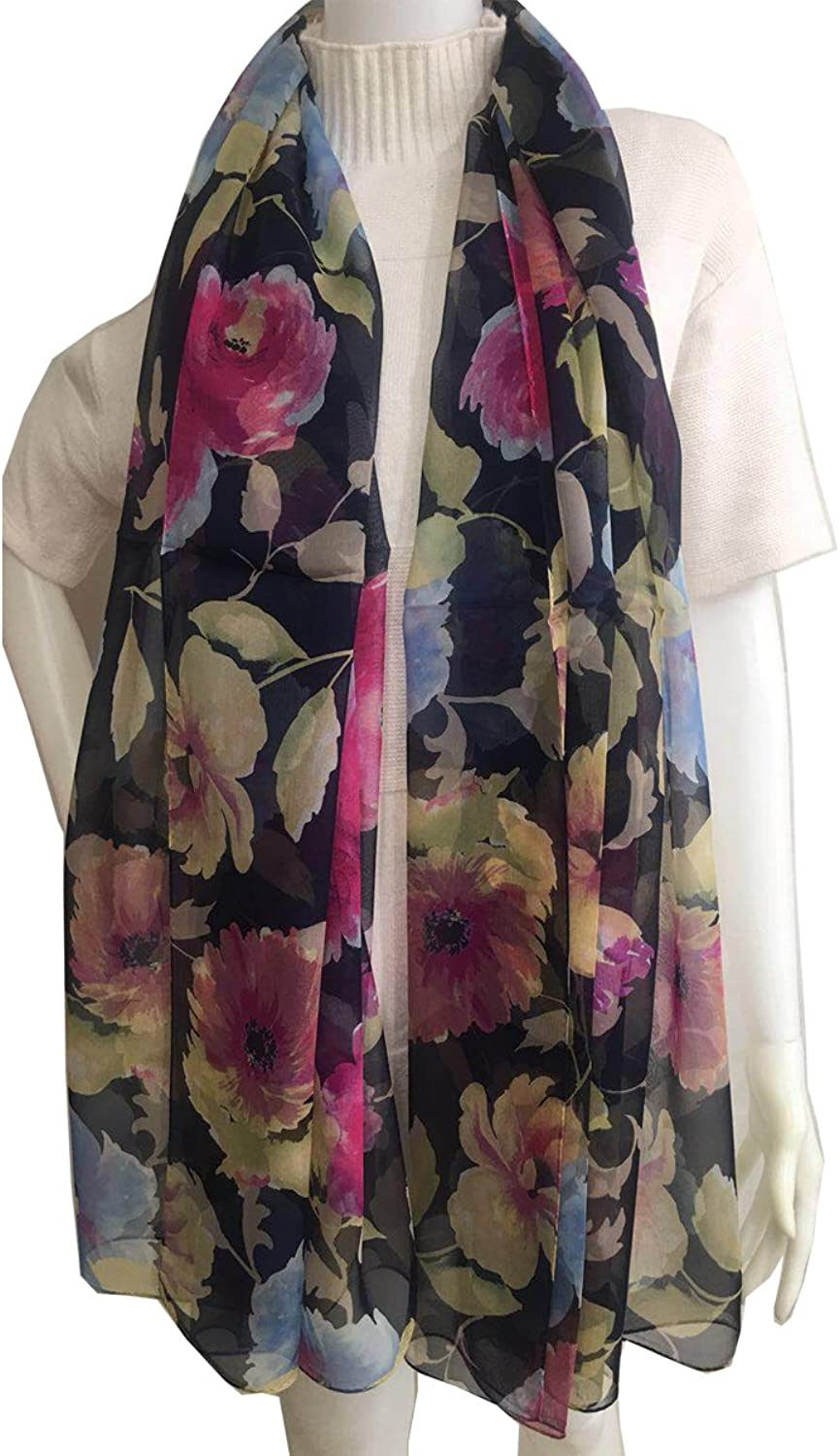 SS10188076 Flora, Silk Long Scarf, Designed Stole of Silk Shiffon, Gift Cased (bluee)