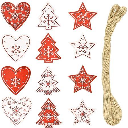 KBNIAN 60 PCS Suspension en Bois pour Sapin de Noël avec Corde de Jute Tranche de Bois Peinte en Rouge et Blanc Forme Cœur d'Amour Étoile pour Décoration de Noël Maison Intérieur Étiquette Cadeau