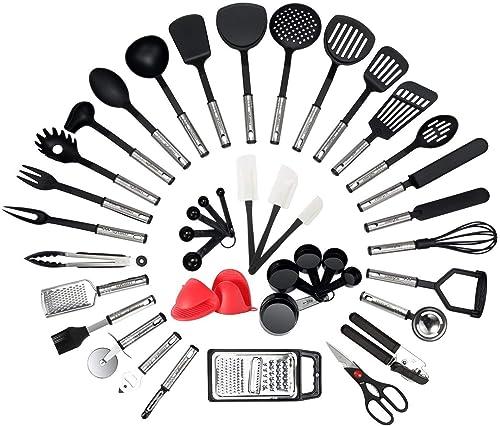 NEXGADGET 42 Pièces Kit Ustensiles de Cuisine en Acier Inoxydable, Set d'Ustensiles de Cusine en Silicone, Lot d'Acce...