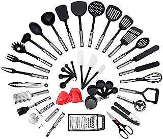 NEXGADGET 42 Pièces Kit Ustensiles de Cuisine en Acier Inoxydable, Set d'Ustensiles de Cusine en Silicone, Lot d'Accessoir...