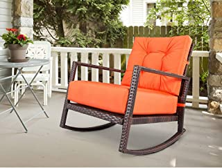 Outdoor Furniture Patio Rocking Chair All-Weather Wicker Seat Cushion Rocking Armchair Chair Furniture with Cushion,Orange