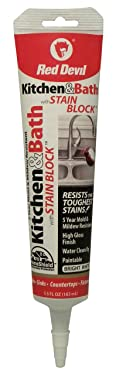 Red Devil 0755 Kitchen & Bath Stain Block Sealant, 5.5 Oz Squeeze Tube, White, Pack of 1
