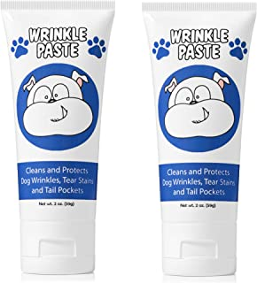 Squishface Wrinkle Paste - 2 Tubes - Cleans Wrinkles, Tear Stains and Tail Pockets - 2 Oz, Anti-Itch, Great for Bulldogs, Pugs and Frenchies