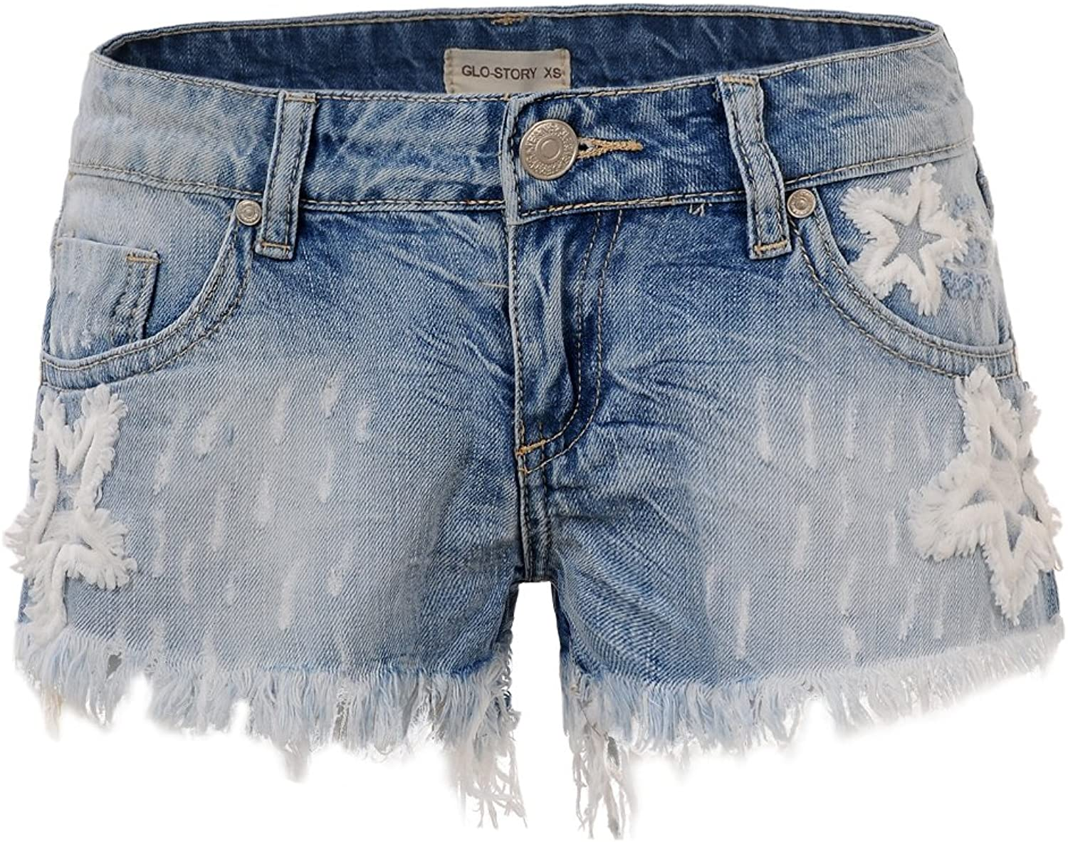 GLOSTORY Women's Causal Low Waist Tassels Skinny Juniors Vintage Denim Shorts WNK2191