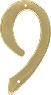 HIllman 847051 4-Inch Nail-On Traditional Solid Brass House Number 9