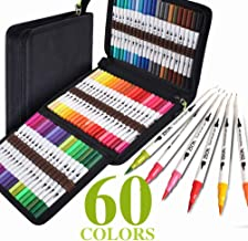 ZSCM 60 Colors Dual Fine Tip Brush Markers Art Pens Set, Fine and Brush Tip Colored Dual Pen for Kids Adult Coloring Books Drawing Bullet Journal Planner Calendar Art Projects