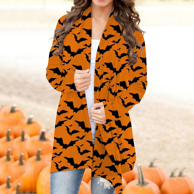 Masbird Halloween Cardigan for Women, Womens Cute Pumpkin Ghost Long Sleeve Open Front Lightweight Coat Plus Size Tops