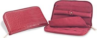 Connoisseurs Leather Jewelry Carrying Clutch, Red