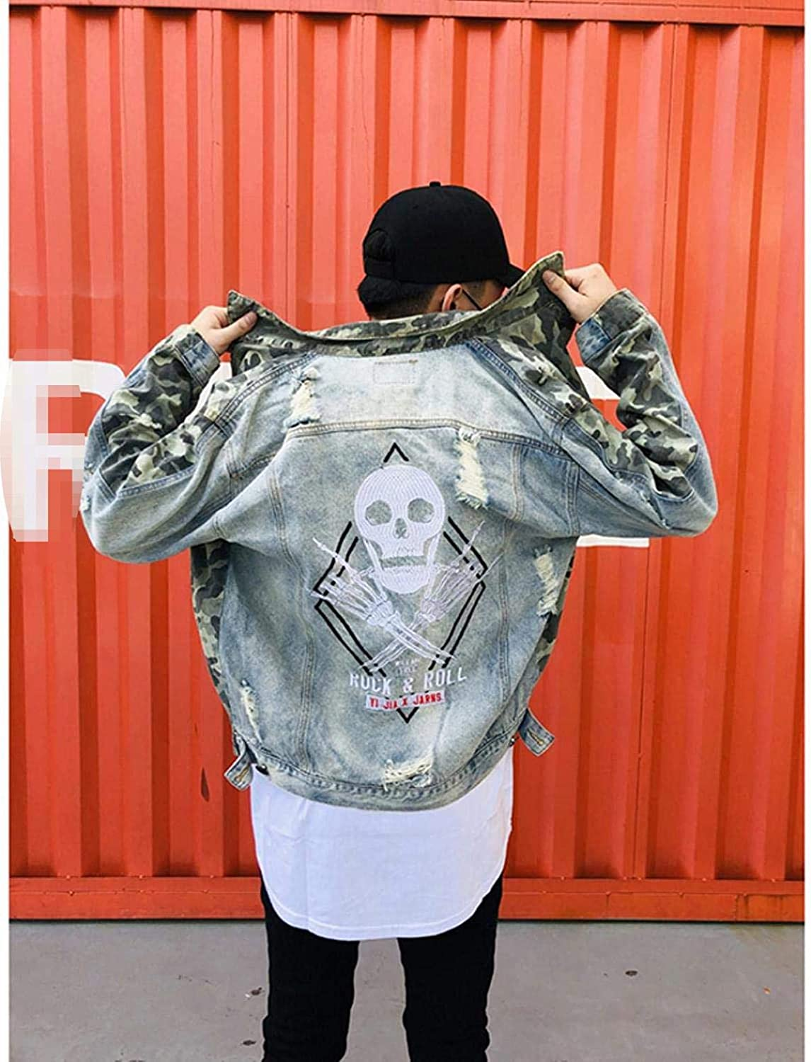 Men's Embroidery Skull Ripped Denim Jacket Camouflage Patchwork Streetwear