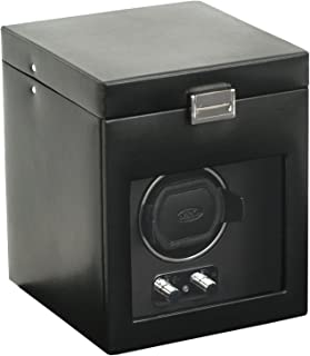 Designs Heritage Single Watch Winder with cover and storage - Black