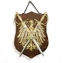 スペイン製 西洋武具 壁掛け 中世の騎士 鷲の紋章 ヘラルドリー 刀剣 ソード 盾 シールド sko-574