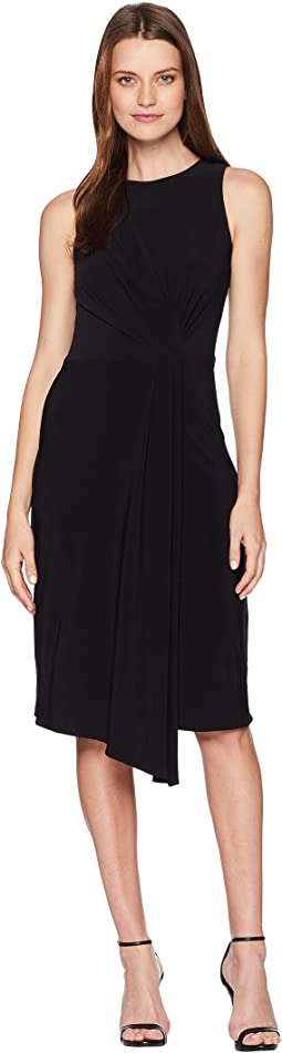 Sleeveless Front Pleat Midi Dress
