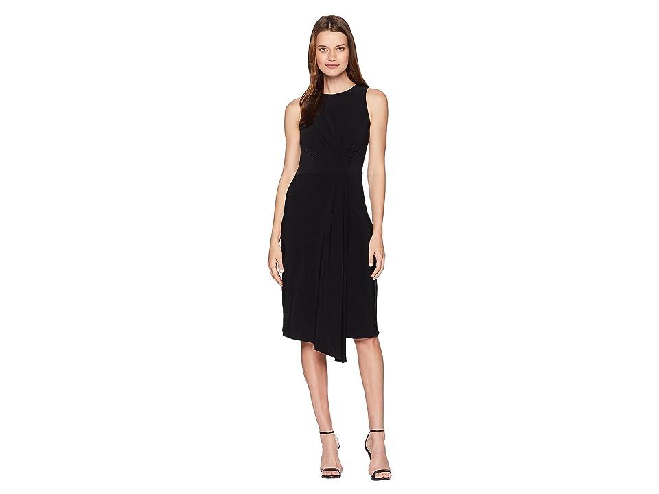 Taylor Sleeveless Front Pleat Midi Dress (Black) Women
