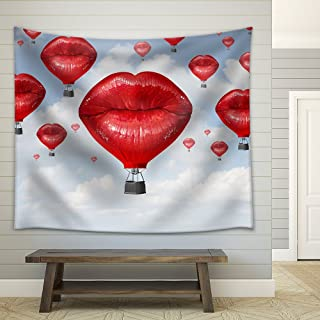 wall26 - Love Balloons as a Hot Air Balloon Made of Human Red Lips Soaring Up to The Blue Sky - Fabric Wall Tapestry Home Decor - 51x60 inches