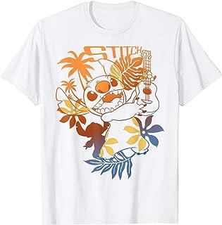 Disney Lilo & Stitch Floral Guitar Playing Stitch Outline T-Shirt