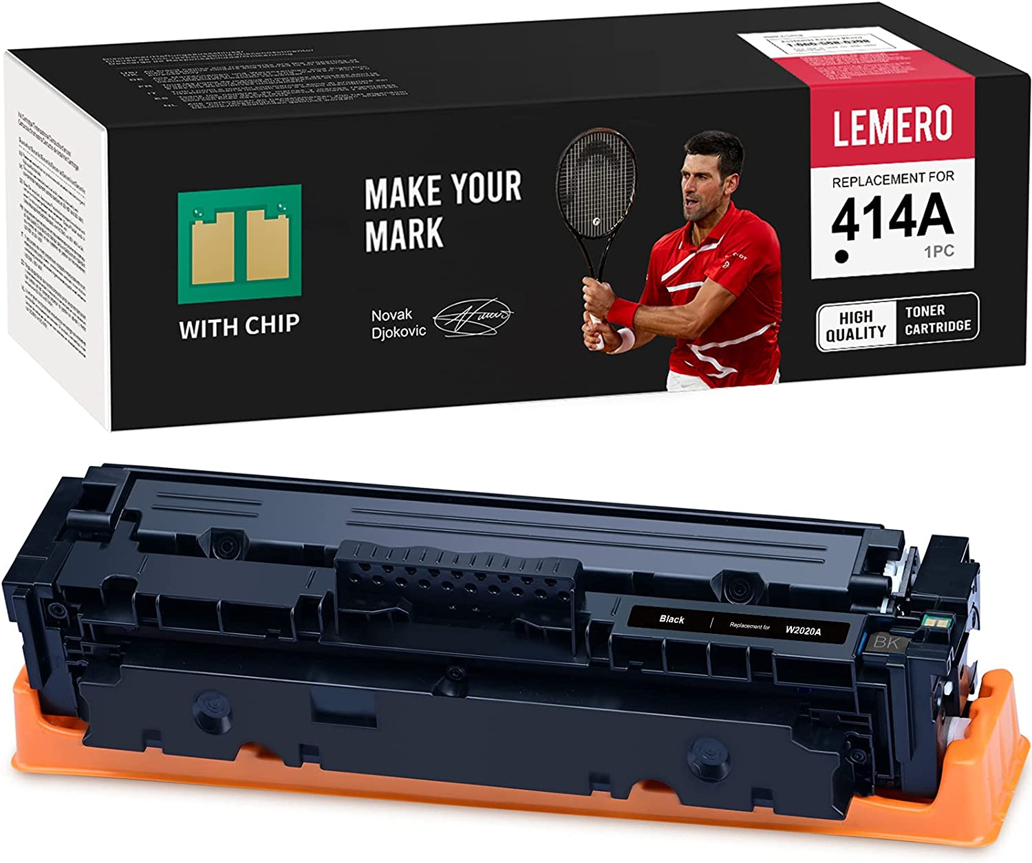 LEMERO (with Chip) Remanufactured Toner Cartridge Replacement for HP 414A 414X W2020A to use with Color Laserjet Pro M454dw M454dn MFP M479dw M479fdn M479fdw (Black, 1-Pack)