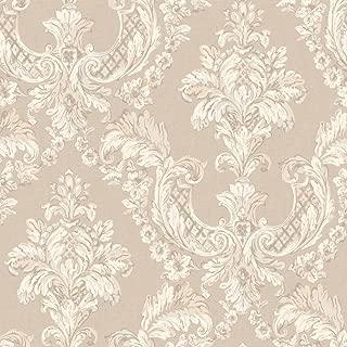 York Wallcoverings EL3940 Arlington Gilded Damask Wallpaper, Ecru/Silver/Pale Blue/Grey/White/Taupe
