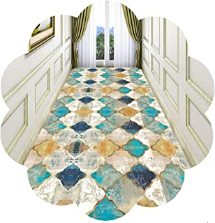 HAIPENG Colorful Grid Runner Rug for Hallway, Cuttable Entry Carpet, Non Slip Entrance Mat Ideal for Hall Staircase Kitche...