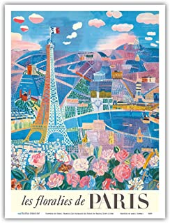 Pacifica Island Art - The Flowers of Paris, France (Les floralies de Paris) - Eiffel Tower - Vintage World Travel Poster by Raoul Dufy c.1966 - Master Art Print - 9in x 12in