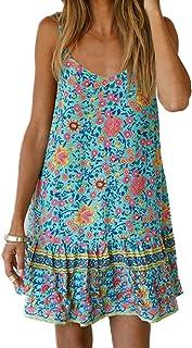 SotRong - Mini abito da donna con scollo a V, stile retrò, con volant, sexy, floreale, casual, per vacanze
