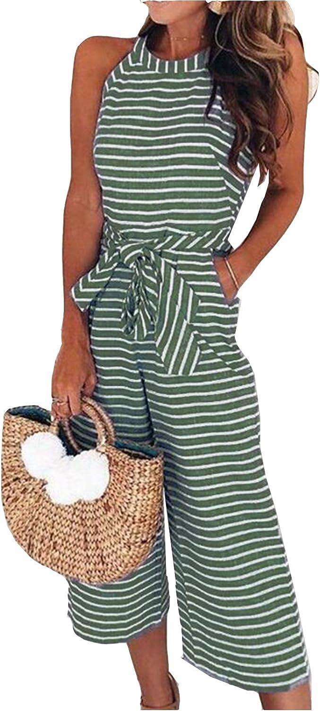 MarcoJudy Women Sleeveless Striped Waist Belted Wide Leg Capri Pants Jumpsuit