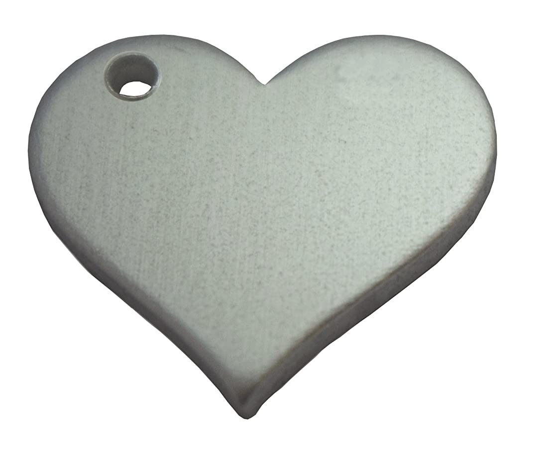 RMP Stamping Blanks, 3/4 Inch Heart Blank With Left Side Hole, Aluminum .063 Inch (14 Ga.)- 50 Pack