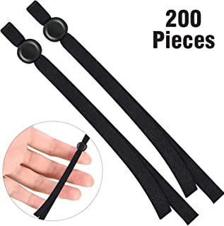 200 Pieces Flat Elastic Cord Bands with Adjustable Buckle Stretchy Sewing Ear Loop Anti-Slip Ear Straps for DIY Face Covers Supplies (Black)