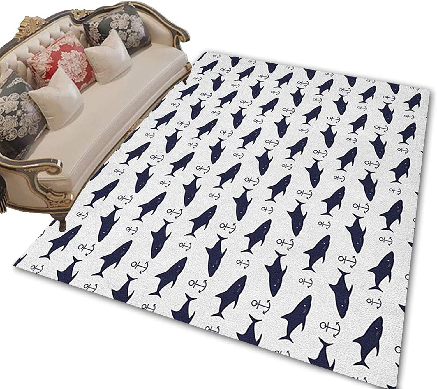Anchor Floor Mat Indoor Aquatic Pattern with Sharks and Anchors Contemporary Classical Modern Fish Animal Front Door mat Indigo White 47 x71