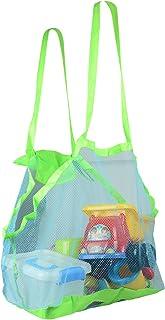Fstoption Malla playa bolsas de mano, bueno para la playa de la familia juego de niños Bolsa de Almacenaje Organizaodr Juguetes de Playa Plegable Herramientas de Dragado de Malla para Niños
