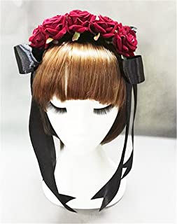 Lolita Red Rose Flower Headband Vintage Ribbon Goth Roses Hair Accessories (A)