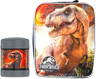 Jurassic World Thermos Lunch Box and Funtainer Set for Kids - Bundle Includes Dual Compartment Insulated Lunch Box and 12 Hour Cold Drink Stainless Steel Funtainer Water Bottle