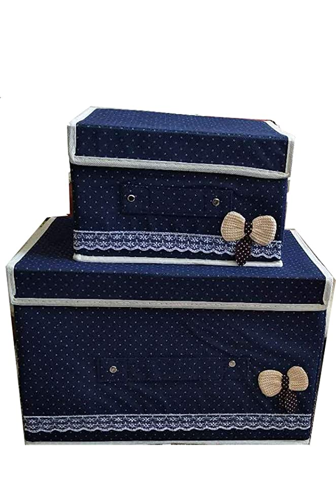 (ADOSSY) ふた付き 収納ボックス おりたたみ 取っ手付き 収納ケース 大小 2個セット (ネイビー)