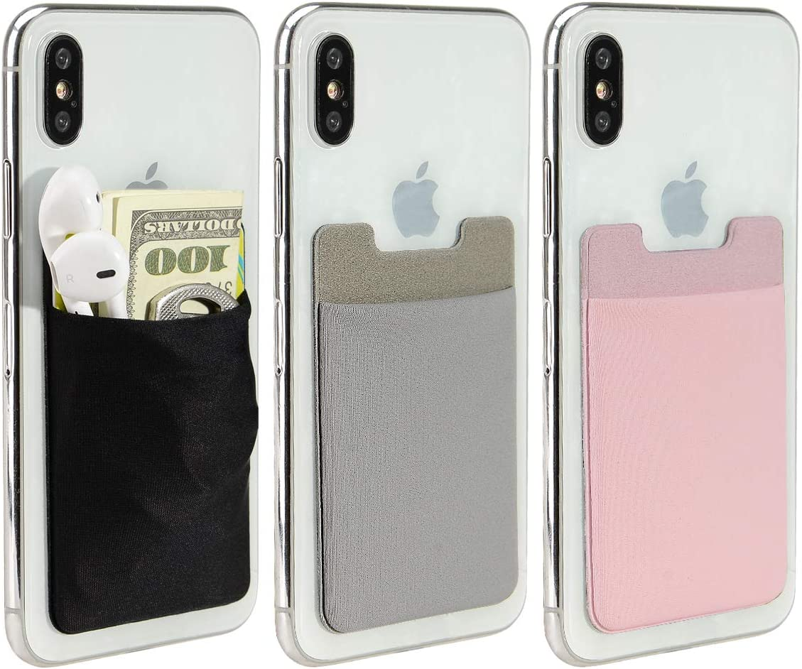 Phone Card Holder, COCASES 3 Pack Phone Pocket Wallet Stretchy Lycra Adhesive Card Holder for Credit Card & ID Stick On Smartphones, iPhones, Samsung Galaxy (Black Grey Pink)