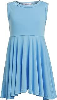 Girls Sleeveless Dresses Tank A-line High Waist Swing Green Casual Dress