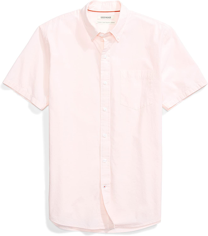 Goodthreads Men's Standard-Fit Short-Sleeve Solid Poplin Shirt