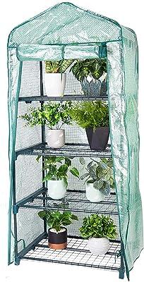 cubierta de invernaderos para plantas peque/ñas 4 estantes de estantes port/átiles para jard/ín y casa verde para exterior interior 69 x 49 x 126 cm 1.5 x 2.25 x 5.25 pies Chutoral Mini invernadero