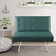 Bonzy Home Futon Sofa Bed/Sofa Chair - Small PU Leather Single Futon Couch - Modern Convertible Living Room Single Sofa for Small Space (Green)