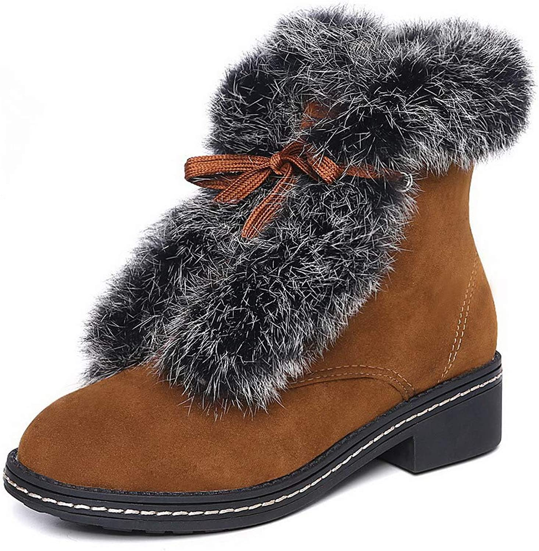 WeiPoot Women's Round-Toe Kitten-Heels Pu Low-Top Solid Boots, EGHXG033599