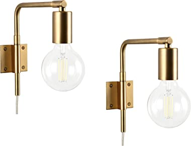 Povani 2 Pack Exposed Bulb Plug-in Wall Sconce with Switch | Antique Brass Wall Lamp LL-WL479-3AB-2PACK