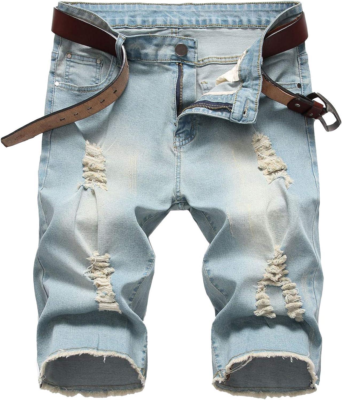 Baylvn Men's Casual Fashion Ripped Ranking TOP20 Short Slim Jeans Sh Denim Super sale period limited Fit